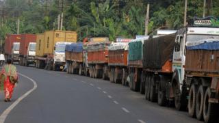 Indian supply trucks queue up at the India Nepal border