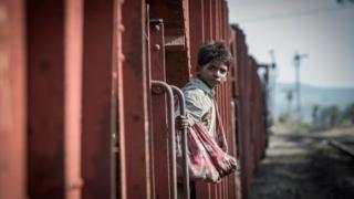 Sunny Pawar as five-year-old Saroo in the new film Lion