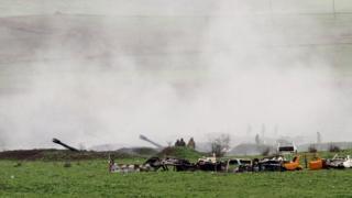 Armenian artillery position of the self-defense army of Nagorno-Karabakh in Martakert, Nagorno-Karabakh Republic, 03 April 2016.