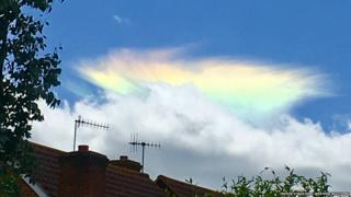 Unusual 'rainbow' clouds spotted in the south east - BBC Weather