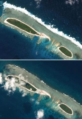 Ảnh chụp từ vệ tinh chụp Đảo Bắc, thuộc Hoàng Sa, ngày 15/2 (trên) và 6/3 (dưới)