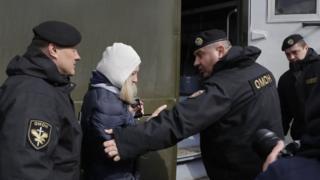 Belarus police detain human rights advocate Tatyana Revyaka in Minsk, Belarus, 26 March 2017
