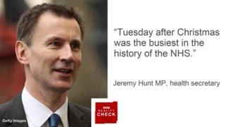 Jeremy Hunt saying: Tuesday after Christmas was the busiest in the history of the NHS.