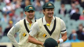 Michael Clarke and Shane Watson during the 2013 Ashes Test series