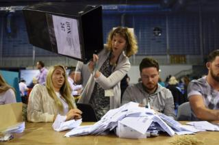 Workers begin counting ballots after polling stations closed in the referendum on the European Union in Glasgow, Scotland