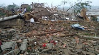 Wrecked houses seen after a tornado hit Funing county, Yancheng, Jiangsu province, China June 23, 2016