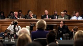 Betsy DeVos faces senators during her confirmation hearings.
