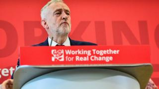Jeremy Corbyn speaking at Labour's local government conference