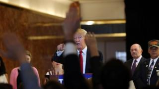 Donald Trump speaks at a news conference at Trump Tower