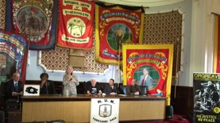 "Barbara Jackson of the Orgreave Truth and Justice Campaign told the press conference at Barnsley NUM that ""the gloves were off"""