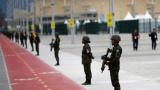 Soldiers of the Brazilian Armed Forces stand guard outside the 2016 Rio Olympics Park in Rio de Janeiro, Brazil, July 21, 2016