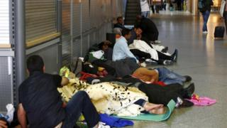 Migrants sleeping in Munich rail station, 13 September 2015