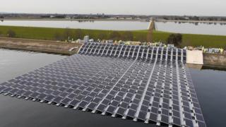 Section of solar farm being constructed