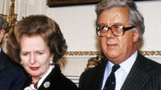 Margaret Thatcher and Sir Geoffrey Howe in Nov 1985