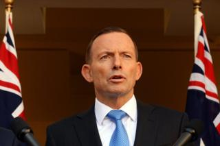 Australian Prime Minister Tony Abbott during a press conference in the Prime Ministerial Courtyard at Parliament House in Canberra, Australia, 9 September 2015