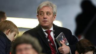John Bercow at a football match last month