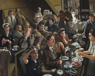 Australian artist Hebert Badham's 1944 painting Snack Bar