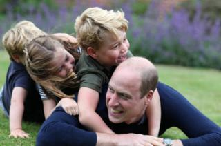 The Duke of Cambridge with his children Prince George, Princess Charlotte and Prince Louis