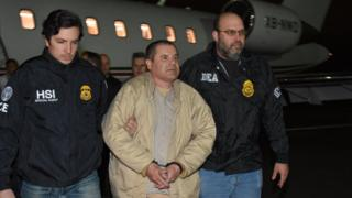 Joaquin Guzman escorted by police at Long Island MacArthur airport in New York - 19 January
