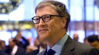 Bill Gates looks into a distance