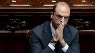 Italy's Interior Minister Angelino Alfano gestures during an address to the lower house of the Italian Parliament in Rome in this October 4, 2013 file photo.