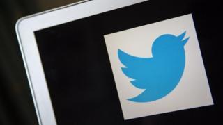 A Twitter logo on a computer screen