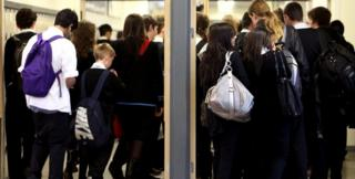Secondary pupils in corridor