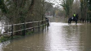 A man wearing a high visibility vest is riding a horse through the flooded road. Either side are trees.