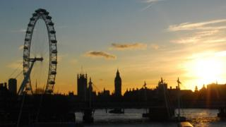 London skyline with the London Eye and the House of Parliament with a setting sun.