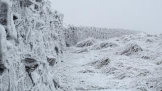 A stone wall and field is covered in frost and snow. A thick fog is also present.