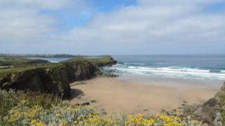A view of a sandy beach. Grassy headland goes out into the sea and there is a fair bit of cloud in a blue sky.