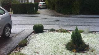 White hail on a front lawn and road.