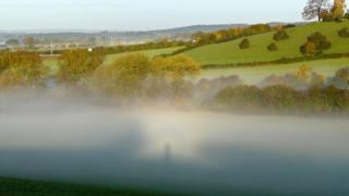 Mist in green fields, with trees behind. The sun is behind the photographer and has created a shadow of the man in the mist. Slight rainbow colours can be seen around the shadow.