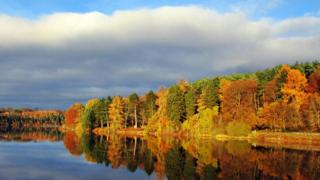 A bit of blue sky shows above a blanket of cloud. Below, the sun shines on autumnal trees by water.