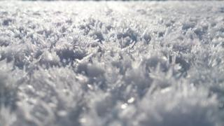 A close up shot of sunlight on frost.