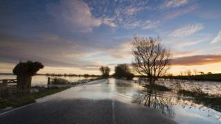 Flood water in fields has spread to the road.