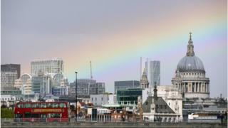 Wide rainbow stretching over the city of London and St Paul's cathedral, including colours of purple, blue, green, yellow, orange and red.