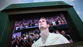 Andy Murray on Wimbledon screen