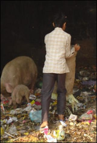 Collecting waste in Nand Nagri, on the outskirts of Delhi, India
