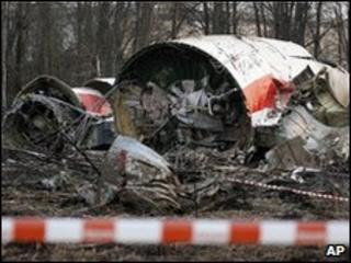 The wreckage of the Polish presidential plane