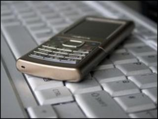Mobile on keyboard, BBC