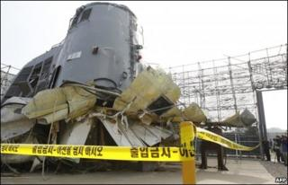 Wreckage of the Cheonan, on 19 May 2010