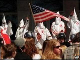 Ku Klux Klan members rally in Pennsylvania in 1999