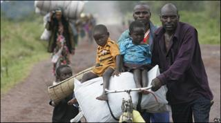 Displaced people in eastern DR Congo. File photo