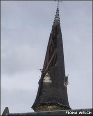 Damaged spire of St Stephen's and West Church