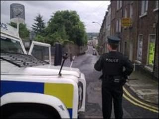 Police at the scene of the explosion