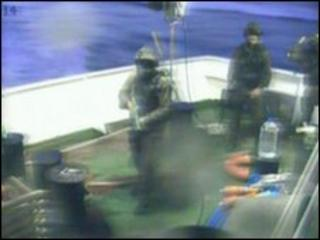 Israeli soldiers on aid ship