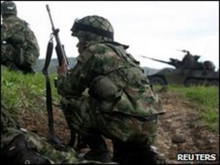 Colombian soldier in Corinto during a fight with Farc rebels