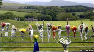 Flowers left for victim Garry Purdham, Gosforth