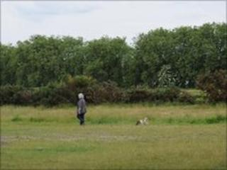 A woman walks her dog on Wanstead Flats, east London